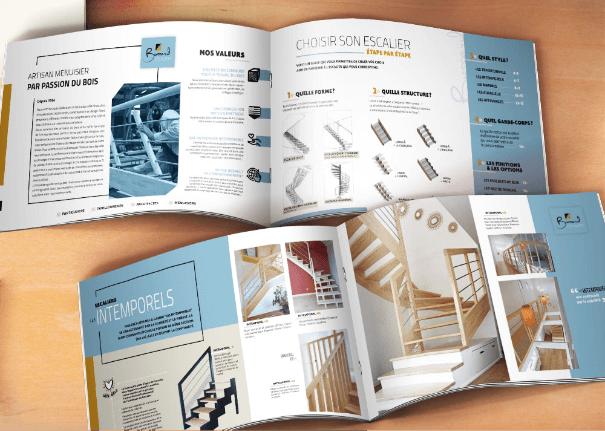 intérieur du catalogue pour l'entreprise des escaliers Bossard