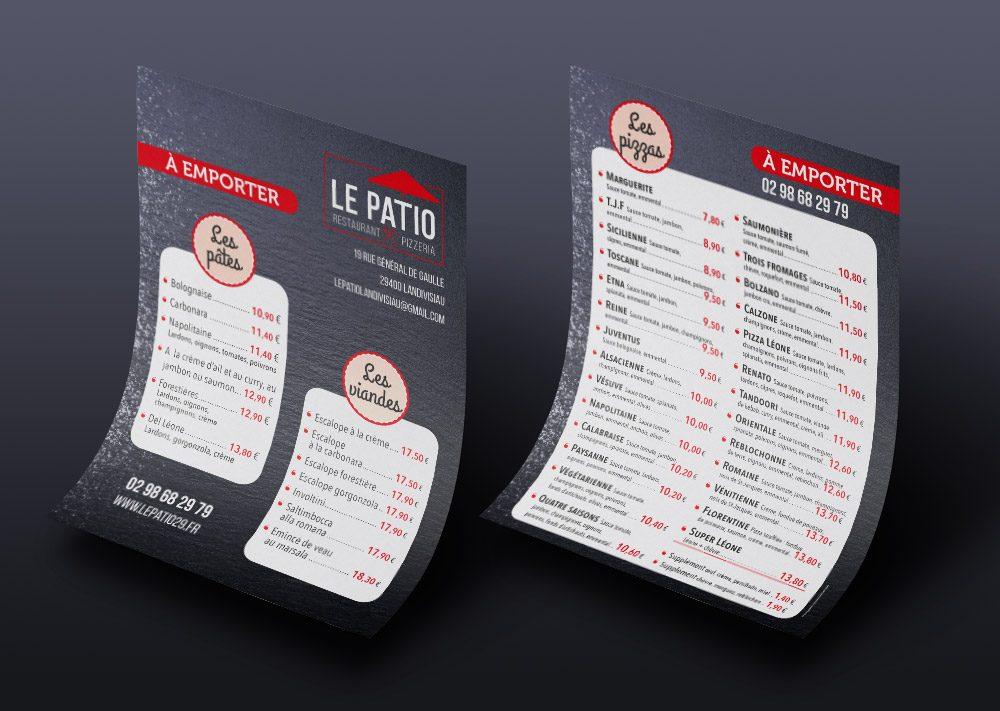 Flyer pour le restaurant Le Patio à Landivisiau